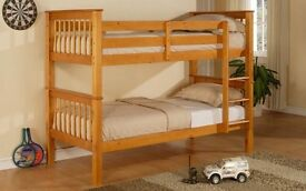 Brand New - Twin/Twin wooden bunk bed. Single Top Single Bottom Extra Solid Wooden Bunk & Mattress