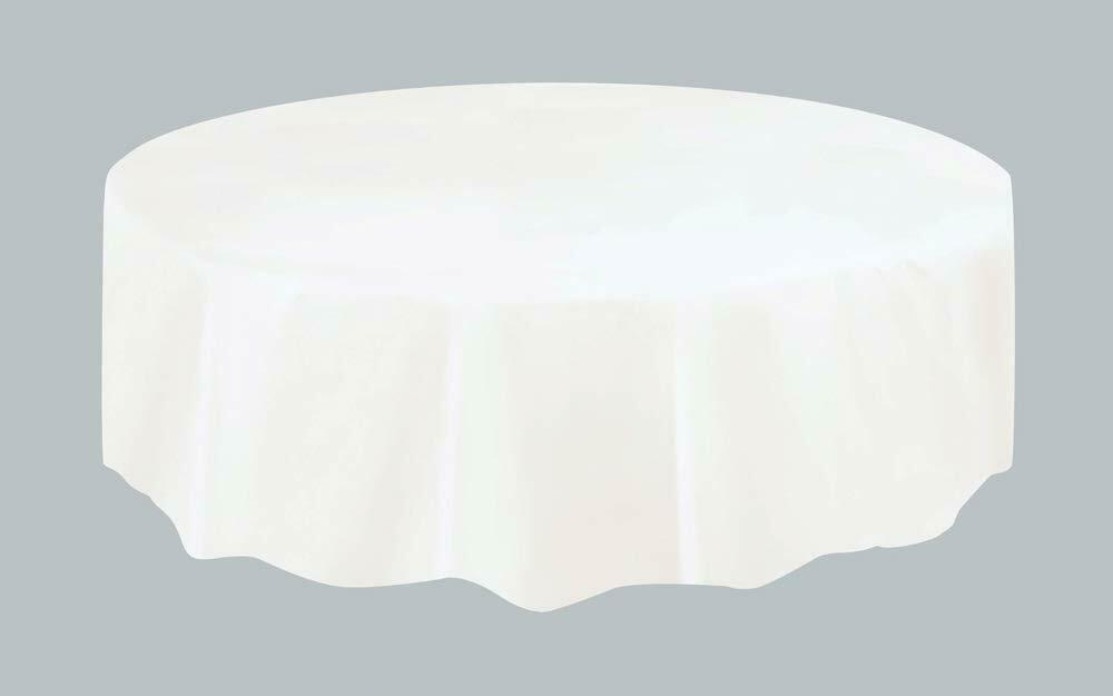 Christmas Party Ideas - White 7ft (2.13m) Round Plastic Tablecloth Table Cover