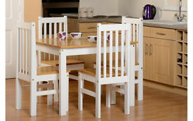 *BRAND NEW*Ludlow Dining table + 4 Chairs in Oak/White Only £180
