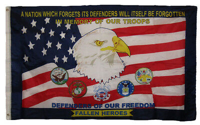 3x5 In Memory of Our Troops Defenders of Our Freedom Fallen Heroes 3'x5' Flag
