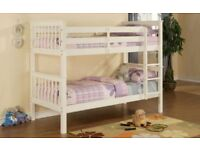 Brand new white and pine wooden bunk bed single bottom and top single we do same day delivery