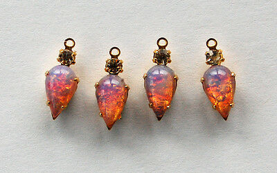 VINTAGE FAUX FIRE OPAL TEAR DROP PENDANT BEADS MADE WITH SWAROVSKI RHINESTONE ()