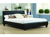 BRAND NEW - STANDARD DOUBLE OR SMALL DOUBLE BED AND MATTRESS IN BLACK WHITE AND BEIGE COLOUR