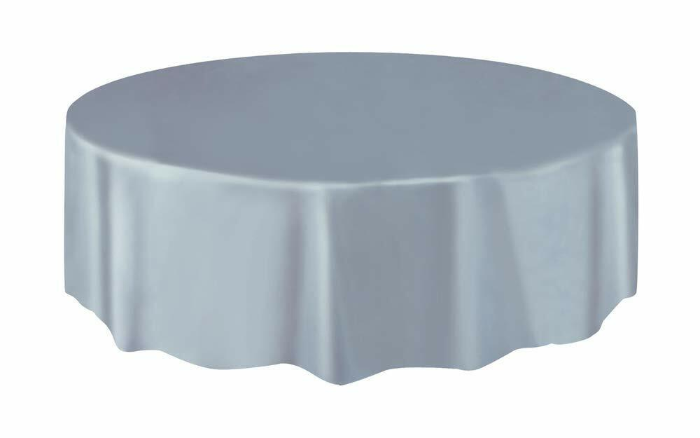 Christmas Party Ideas - Silver 7ft (2.13m) Round Plastic Tablecloth Table Cover