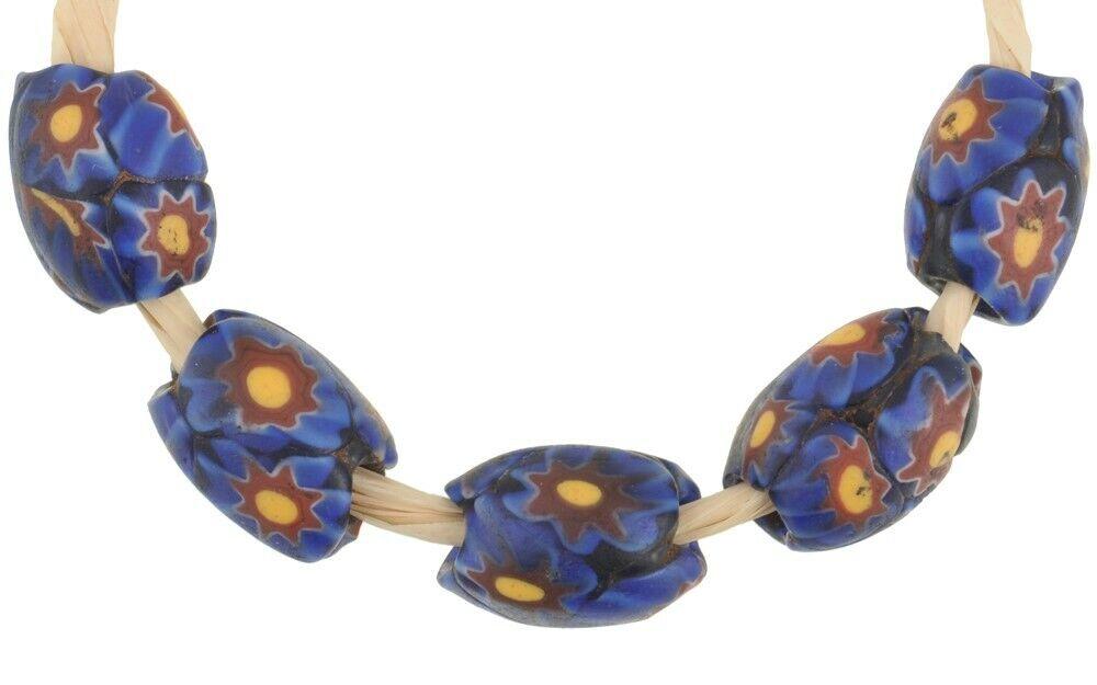 Antique Venetian Millefiori Blue multi Oval African trade Beads-Ghana