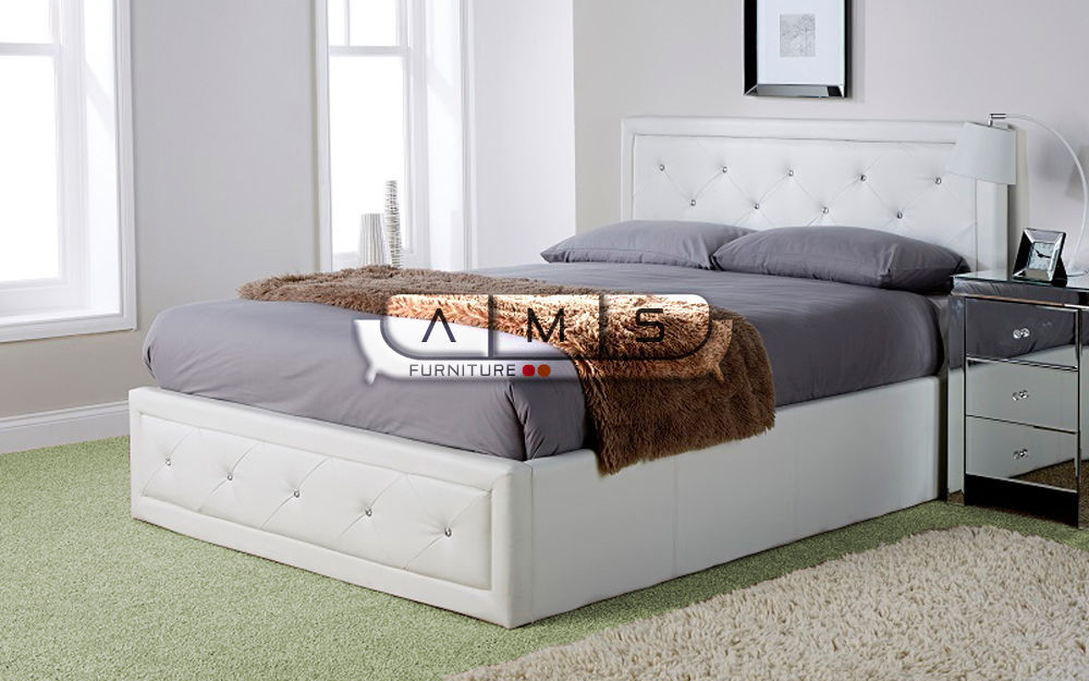 BRAND NEW DIAMANTE DOUBLE LEATHER OTTOMAN STORAGE BED FRAME WITH SUPER  ORTHOPAEDIC MATTRESS (4FT6) | in Richmond, London | Gumtree - BRAND NEW DIAMANTE DOUBLE LEATHER OTTOMAN STORAGE BED FRAME WITH