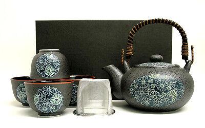 Original japanisches Teeservice KIKUMON Japan Teeset Geschenkbox Kanne 600 ml