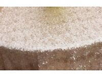 """For sale 10 round champagne sequin tablecloths 90"""" (225cm) for wedding or event dressing"""