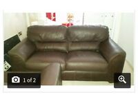 Brown leather sofa & matching arm chair
