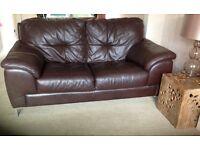 Prestine corner and two seat sofa set brown leather. Smoke free home