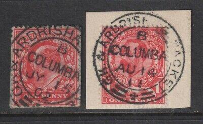 EDVII / GV Greenock & Ardrishaig Packet B Columba Cancels on 2 1d Stamps
