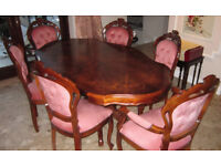 ITALIAN DINING TABLE & 6 CHAIRS IN PINK