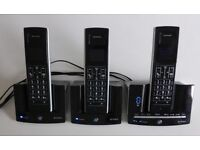 BRITISH TELECOM BT CORDLESS STRATUS 1500 TRIO PHONES X3 PLUS ANSWER PHONE MACHINE £50 ONO