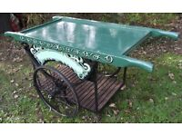 TRADITIONAL VINTAGE MARKET CART FOR DISPLAYING ALL TYPES OF GOODS. WOOD AND METAL CONSTRUCTION