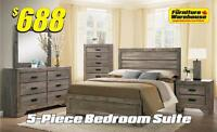 5-Piece Bedroom Suite-Only $688