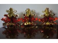 3 Red & Gold Hanging Foil Christmas Trees