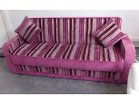 Beautiful Designer Pink 3-Seater Sofa / Sofabed / Guest Bed Luxurious!