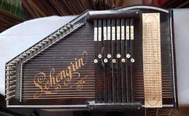 Rare vintage Lohengrin German wooden auto harp/zither 32 string/9 bar autoharp
