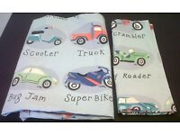 NEXT BOYS CAR AND BIKE SINGLE BEDDING SET QUILT COVER AND PILLOW CASE