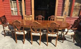 Large Extendable Mahogany Dining Table & 8 Shield Back Chairs Antique Style - Delivery Available