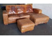 DFS Distressed Style Corner Sofa & Footstool.CAN DELIVER
