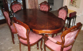 Italian Dining Table and 6 Chairs in Pink