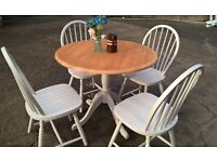 Hand painted dining set 4 chairs & pine topped table