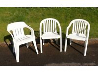Garden chairs, twelve, white