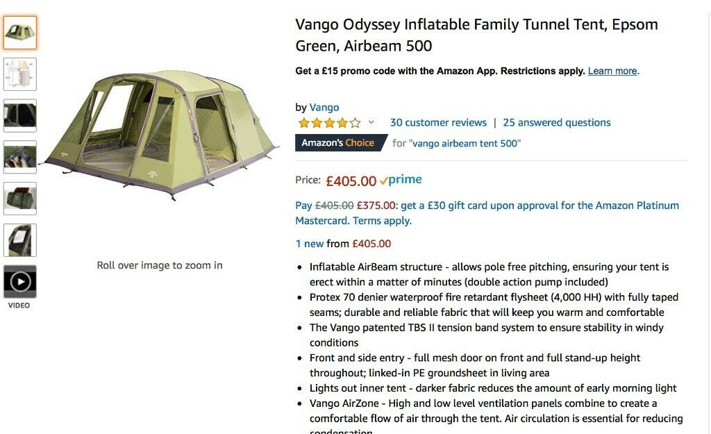 quality design 848a9 b1bc2 NEW VANGO AIRBEAM 500 + camping equipment-all brought in June and used for  4 days only | in Finaghy, Belfast | Gumtree