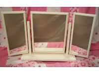 White three way dressing table mirror