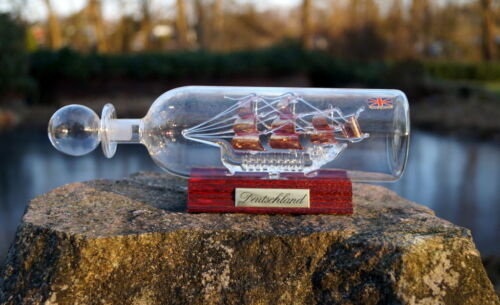 Model Ship Germany Glas Handmade Sailing Ship Windjammer Collector