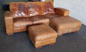 Tan aniline hide leather corner sofa CAN DELIVER