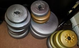 total of 110 KG gym weights for barbells/bar