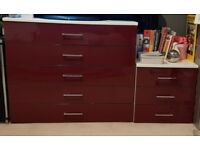 Chest of drawers and matching bedside cabinet