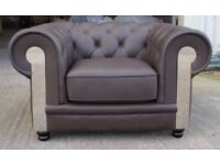 New Chesterfield brown leather sofa