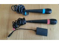 PS3 Singstar Microphones (Red and Blue) and adapter to connect them both.
