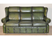 Attractive Large Long Wide Vintage Green Leather 3 Seat Sofa Couch Settee