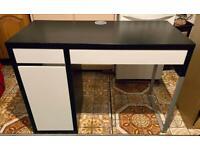 Bargain IKEA Micke Computer Desk Office Black White Drawers