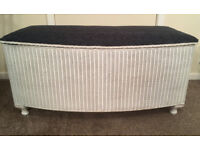 LLOYD LOOM REFURBISHED OTTOMAN RESPRAYED/REPADDED/REUPHOLSTERED VINTAGE STYLE IN VERY GOOD CONDITION