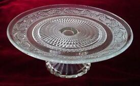 VINTAGE 1 Tier Clear Glass Cake Stand Ornate Glassware/Cafe /Pattiserie/Bistro/ Fleur De Lise Design