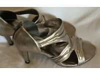 Silver High Heel Shoes Size 6