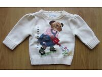 BNWT-Girl-039-s-Ralph-Lauren-Cream-Teddy-Bear-Jumper-Sweater-Size-3M-0-3-Months