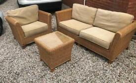 Conservatory wicker sofa, armchair and table
