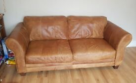 DFS Savoy Brown Leather Large 3 Seater Sofa with Foot Stool with storage both in very good condition