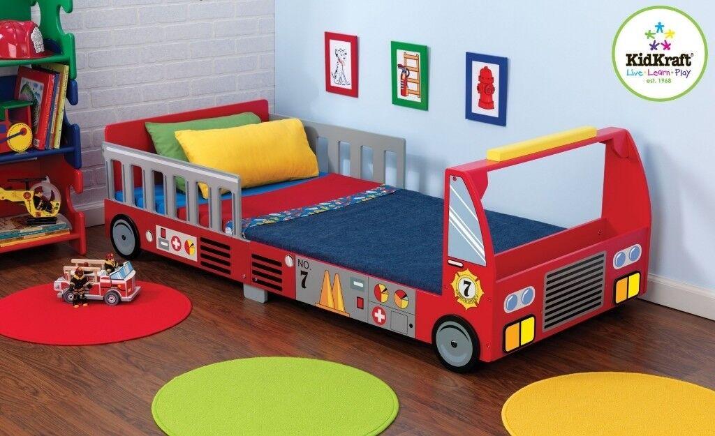Children Wooden Bed Fire Engine Kids Frame Single Red Toddler Themed