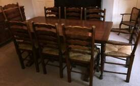 Fine Vintage oak table and 8 chairs