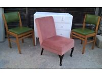 Pink Velour Bedroom Boudoir Low Chair with Vintage Queen Anne Legs