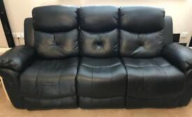 Two seater and three seater black leather recliner sofa with heat and massage functions