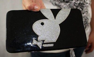 NWT PLAYBOY CLUTCH black glitter bag wallet purse ID organizer bills coins LARGE