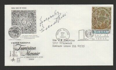 United Nations 1969 FDC signed by actor Vincent Price